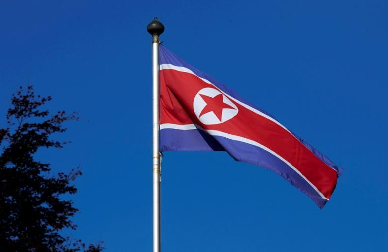 A North Korean flag flies on a mast at the Permanent Mission of North Korea in Geneva October 2, 2014. REUTERS/Denis Balibouse/Files