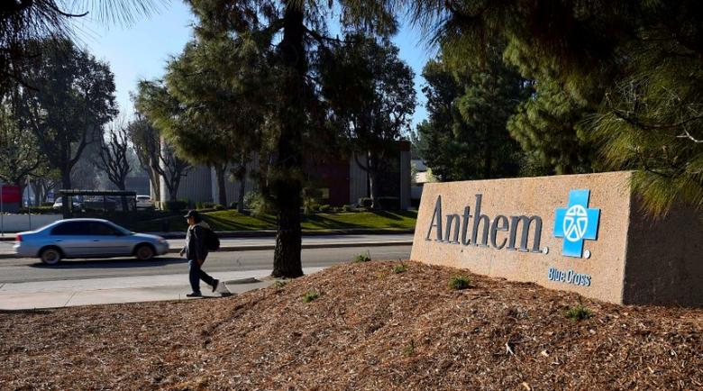 FILE PHOTO: A sign at the office building of health insurer Anthem is seen in Los Angeles, California, U.S. on February 5, 2015.  REUTERS/Gus Ruelas/File Photo