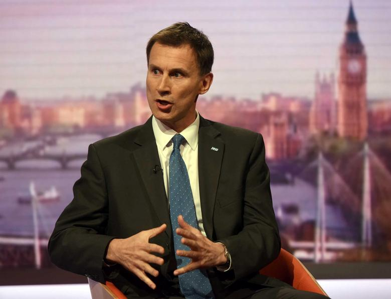 Britain's Health Secretary Jeremy Hunt speaks on the BBC's Andrew Marr Show in London, Britain in this file photo dated May 7, 2017.  Jeff Overs/BBC handout via REUTERS