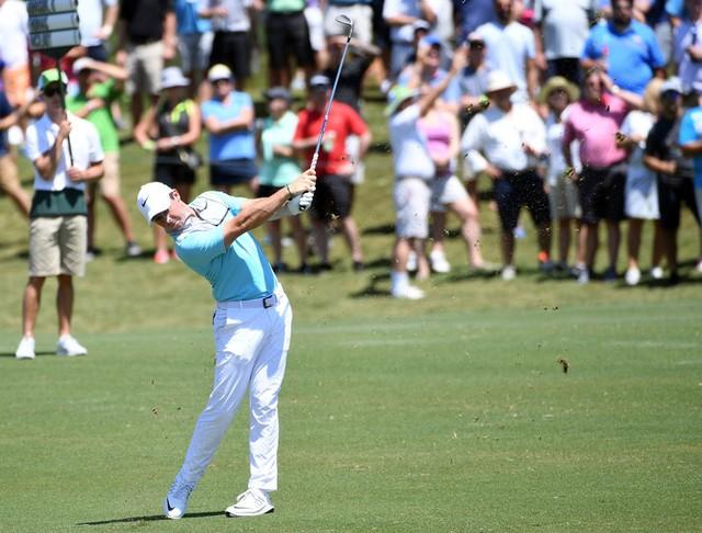 May 12, 2017; Ponte Vedra Beach, FL, USA; Rory McIlroy plays his approach shot onto the 5th green during the second round of The Players Championship golf tournament at TPC Sawgrass - Stadium Course. Mandatory Credit: Michael Madrid-USA TODAY Sports