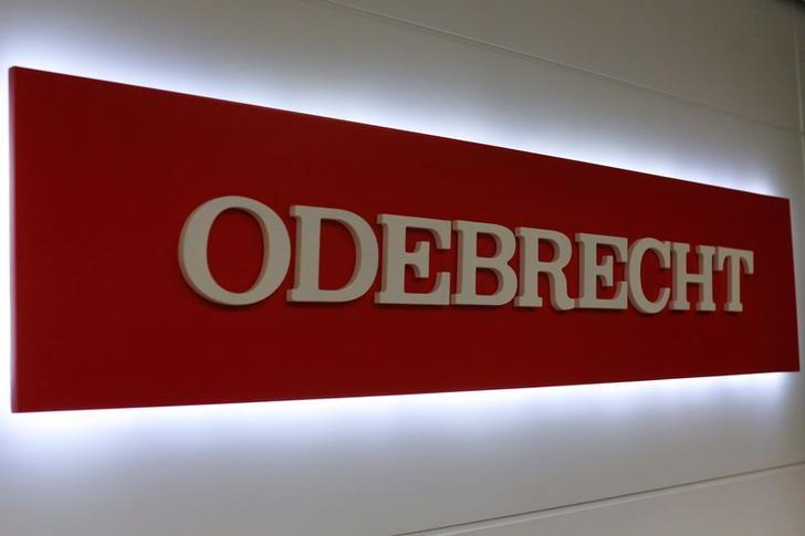 The corporate logo of Odebrecht is seen inside of one of its offices in Mexico City, Mexico May 4, 2017. Picture taken on May 4, 2017. REUTERS/Carlos Jasso