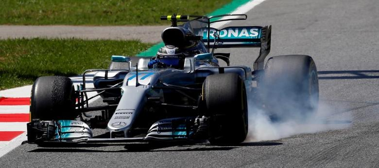 Formula One - F1 - Spanish Grand Prix - Barcelona-Catalunya racetrack, Montmelo Spain - 12/05/17 - Mercedes' Valtteri Bottas in action during the second free practice. REUTERS/Juan Medina