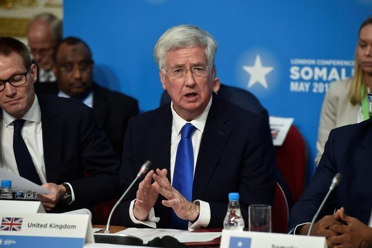 Britain's Defence Secretary Michael Fallon attends the London Conference on Somalia at Lancaster House in London, 11 May, 2017. REUTERS/Hannah McKay