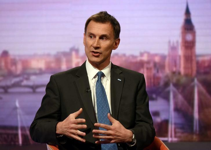 Britain's Health Secretary Jeremy Hunt speaks on the BBC's Andrew Marr Show in London, Britain May 7, 2017. Jeff Overs/BBC handout via REUTERS/Files