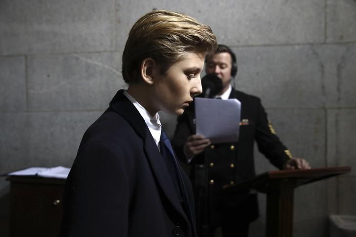 Barron Trump arrives on the West Front of the U.S. Capitol on January 20, 2017 in Washington, DC. REUTERS/Win McNamee/Pool/Files