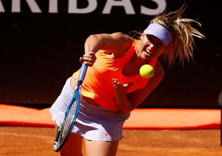 Tennis - WTA - Rome Open - Christina Michael of U.S. v Maria Sharapova of Russia - Rome, Italy- 15/5/17- Sharapova serves the ball . REUTERS/Tony Gentile
