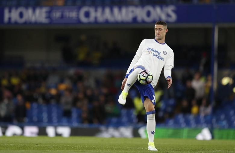 Britain Football Soccer - Chelsea v Watford - Premier League - Stamford Bridge - 15/5/17 Chelsea's Gary Cahill during the warm up before the match Action Images via Reuters / John Sibley Livepic