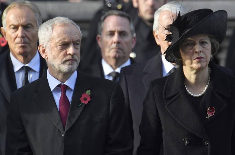 Britain's Prime Minister Theresa May (R) and Britain's Opposition Labour Party Leader Jeremy Corbyn (2L) take part in the Remembrance Sunday ceremony at the Cenotaph in Westminster, central London, Britain November 13, 2016. REUTERS/Toby Melville