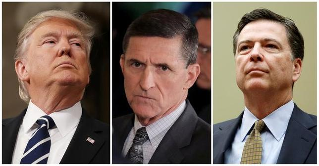 FILE PHOTO: A combination photo shows U.S. President Donald Trump (L), on February 28, 2017, White House National Security Advisor Michael Flynn (C), February 13, 2017 and FBI Director James Comey in Washington U.S. on July 7, 2016.   REUTERS/Jim Lo Scalzo/Pool, Carlos Barria, Gary Cameron/File Photo