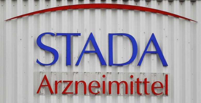 FILE PHOTO: The logo of the pharmaceutical company Stada Arzneimittel AG is pictured at its headquarters in Bad Vilbel near Frankfurt, Germany March 14, 2012. REUTERS/Alex Domanski/File Photo