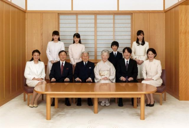 FILE PHOTO - Japanese Emperor Akihito (seated 3rd L) and Empress Michiko (seated 4th L), smile with their family members during a photo session for the New Year at the Imperial Palace in Tokyo, Japan in this handout picture taken November 28, 2016, and provided by the Imperial Household Agency of Japan. Also in the picture are Crown Prince Naruhito (seated 2nd L), his wife, Crown Princess Masako (Seated L), their daughter, Princess Aiko (top 2nd L), Prince Akishino, (Seated 2nd R), his wife, Princess Kiko (Seated R), their daughters, Princess Mako (top L), and Princess Kako (top R), and their son, Prince Hisahito (top 2nd R). Imperial Household Agency of Japan via Reuters/File Photo ATTENTION EDITORS - THIS PICTURE WAS PROVIDED BY A THIRD PARTY. FOR EDITORIAL USE ONLY. NOT FOR SALE FOR MARKETING OR ADVERTISING CAMPAIGNS.