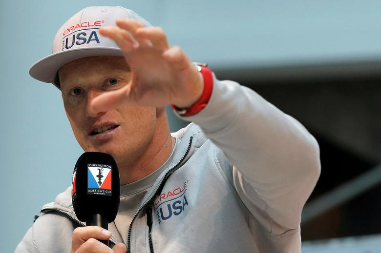 FILE PHOTO: Skipper Jimmy Spithill of Oracle Team USA speaks at a news conference ahead of competing in the America's Cup World Series sailing event in New York City, U.S. May 5, 2016.  REUTERS/Brendan McDermid/File Photo