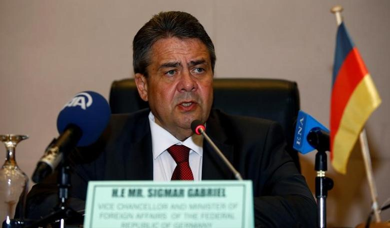 German Foreign Minister Sigmar Gabriel addresses a news conference after meeting Africa Union chairperson Moussa Faki at the Africa Union Commission (AUC) headquarters in Addis Ababa, Ethiopia May 2, 2017. REUTERS/Tiksa Negeri
