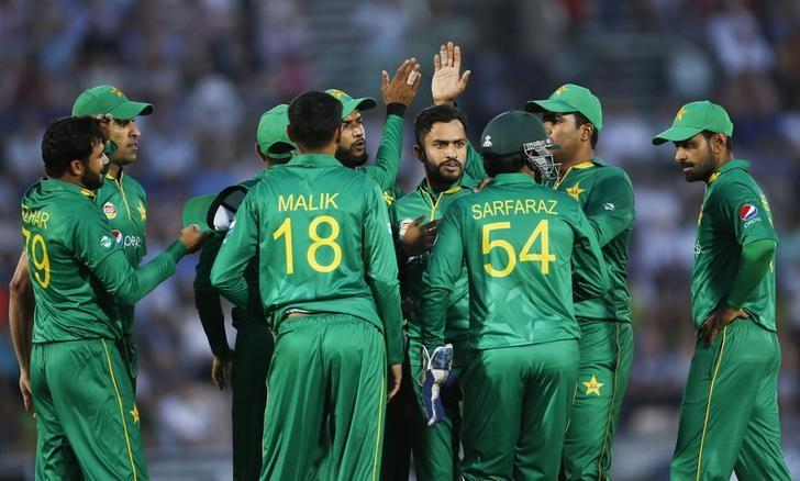 Cricket Britain - England v Pakistan - First One Day International - The Ageas Bowl - 24/8/16Pakistan's Mohammad Nawaz celebrates taking the wicket of England's Jason Roy with teammatesAction Images via Reuters / Paul ChildsLivepic/Files