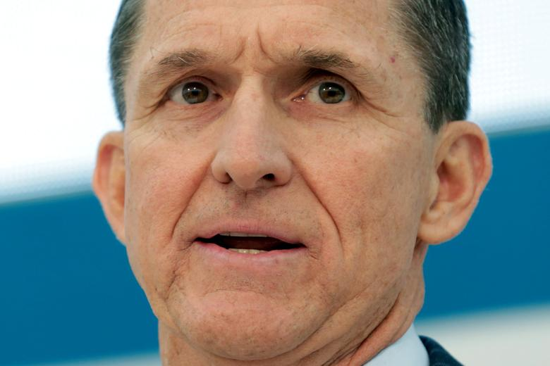 FILE PHOTO - Former Defense Intelligence Agency Director retired Army Lt. Gen. Michael Flynn, incoming White House national security adviser, speaks at the U.S. Institute of Peace ''2017 Passing the Baton'' conference in Washington, U.S., January 10, 2017. REUTERS/Yuri Gripas/File Photo