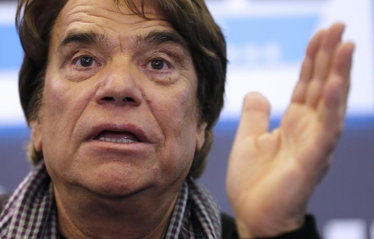 French businessman Bernard Tapie attends a news conference for the launching of his web TV at the headquarters of the French daily newspaper 'La Provence' in Marseille, March 12, 2014.     REUTERS/Jean-Paul Pelissier