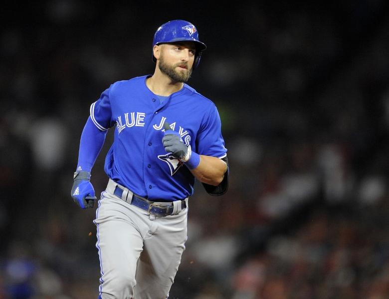 April 22, 2017; Anaheim, CA, USA;  Toronto Blue Jays center fielder Kevin Pillar (11) rounds the bases after he hits a two run home run in the eighth inning against the Los Angeles Angels at Angel Stadium of Anaheim. Mandatory Credit: Gary A. Vasquez-USA TODAY Sports