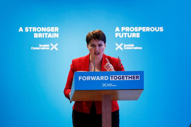 Ruth Davidson gives a speech during the launch of the Scottish Conservative manifesto in Edinburgh, Scotland, Britain May 19, 2017. REUTERS/Russell Cheyne