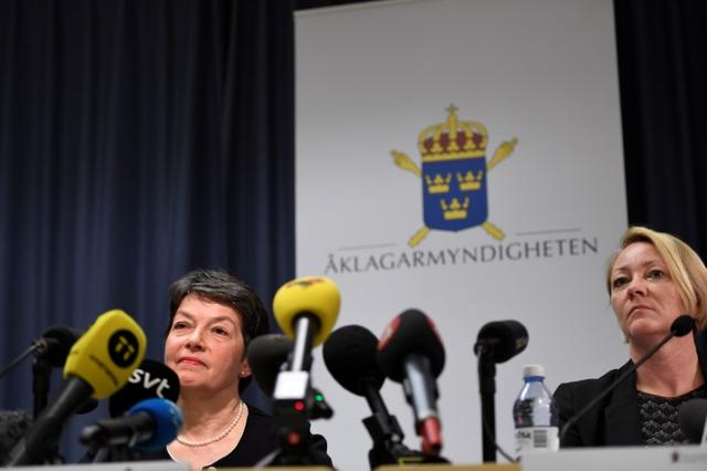 Prosecutors Marianne Ny (L) and Ingrid Isgren (R) attend a press conference in Stockholm, Sweden May 19, 2017. TT News Agency/Maja Suslin via REUTERS