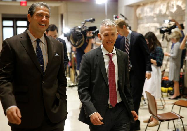 Tim Ryan (D-OH) and Trey Gowdy (R-SC) arrive for a closed briefing for members of the House of Representatives by Deputy Attorney General Rod Rosenstein to discuss the firing of former FBI Director James Comey, on Capitol Hill in Washington, U.S., May 19, 2017. REUTERS/Joshua Roberts