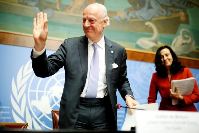 United Nations Special Envoy for Syria Staffan de Mistura leaves a news conference during the Intra Syria talks at the United Nations Offices in Geneva, Switzerland, May 19, 2017. REUTERS/Pierre Albouy