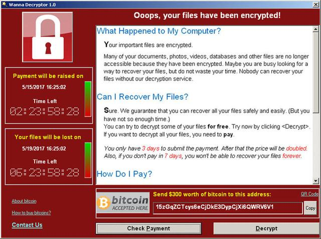 A screenshot shows a WannaCry ransomware demand, provided by cyber security firm Symantec, in  Mountain View, California, U.S. May 15, 2017.   Courtesy of Symantec/Handout via REUTERS