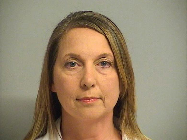 FILE PHOTO: Tulsa, Oklahoma Police Officer Betty Shelby, 42, charged with first-degree manslaughter in the death of 40-year-old Terence Crutcher, is shown in this Tulsa County Jail booking photo in Tulsa, Oklahoma, U.S., September 23, 2016.  Courtesy Tulsa County Jail/Handout via REUTERS