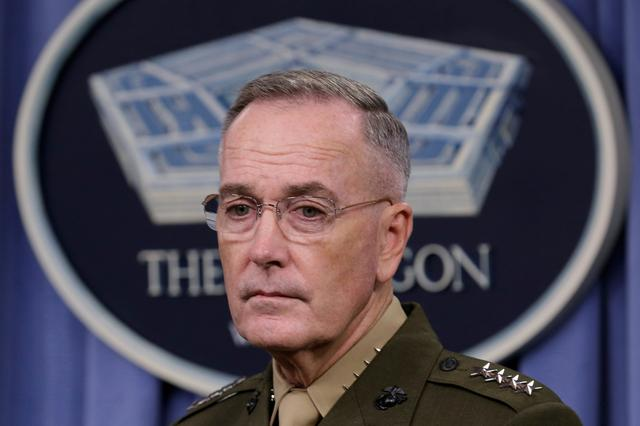 Joint Chiefs Chairman Marine Gen. Joseph Dunford holds a press briefing on the campaign to defeat ISIS at the Pentagon in Washington, U.S., May 19, 2017. REUTERS/Yuri Gripas