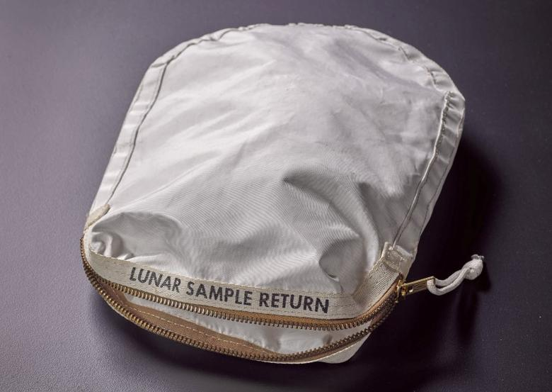 An Apollo 11 Contingency Lunar Sample Return Bag, used by astronaut Neil Armstrong on Apollo 11 to bring back the very first pieces of the moon ever collected, is seen in an undated photo supplied by Sotheby's auction house in New York May 19, 2017. Courtesy SothebyÕs/Handout via REUTERS