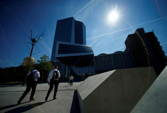 FILE PHOTO: The headquarters of the European Central Bank (ECB) are pictured in Frankfurt, Germany, September 8, 2016.     REUTERS/Ralph Orlowski/File Photo