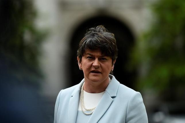 Leader of the Democratic Unionist Party (DUP), Arlene Foster speaks to media outside Government buildings in Dublin, Ireland June 16, 2017. REUTERS/Clodagh Kilcoyne