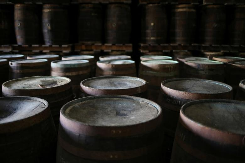 Bourbon whiskey barrels in St. Philip, Barbados December 2, 2016. Picture taken December 2, 2016. Adrees Latif