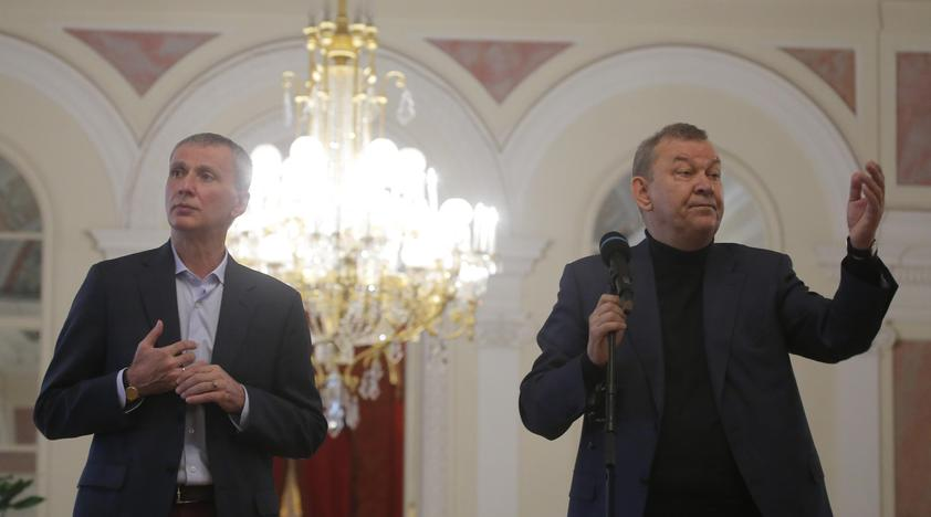 Makhar Vaziev, ballet director of the Bolshoi Theatre, and Bolshoi's Director general Vladimir Urin attend a news conference on the postponement of the world premiere of the Nureyev ballet, weeks after its director Kirill Serebrennikov was questioned as a witness in a fraud investigation, at the Bolshoi in Moscow, Russia, July 10, 2017. Maxim Shemetov