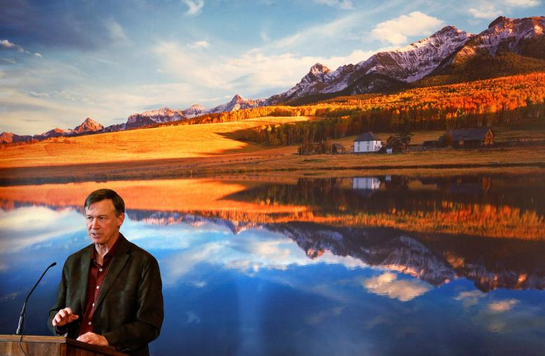 Colorado Governor John Hickenlooper lays out his plans for the next state legislative session at a news conference in his office at the Capitol in Denver, Colorado, U.S. on December 19, 2013. Rick Wilking