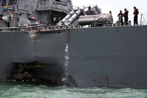 U.S. Navy ship collides with oil tanker