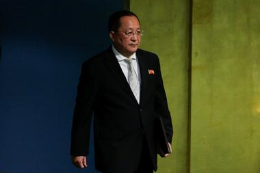 North Korean Foreign Minister Ri Yong-ho arrives to address the 72nd United...