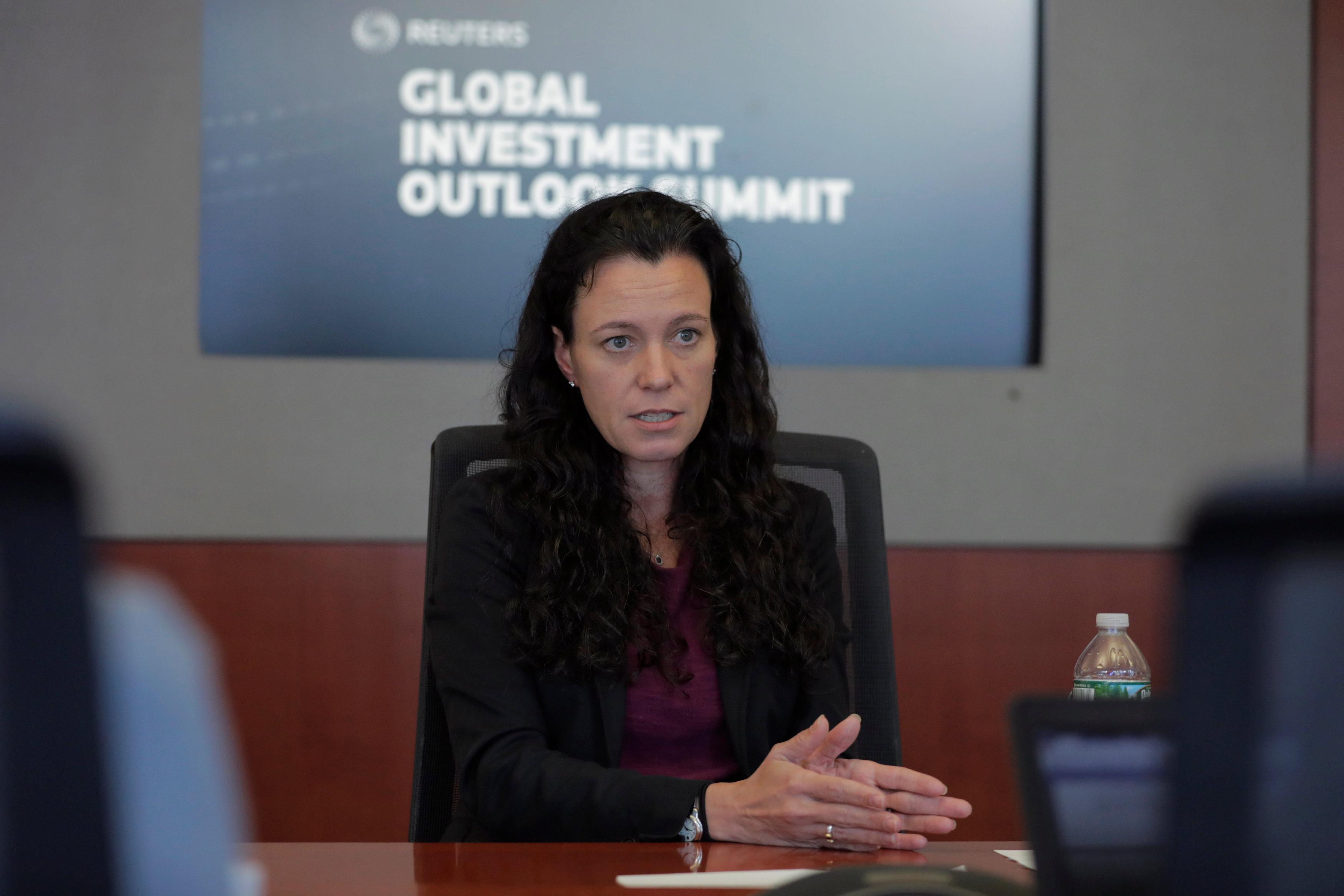 Kera Van Valen, managing director and portfolio manager at Epoch Investment Partners, speaks during the Reuters Global Investment Outlook Summit in New York, U.S., November 17, 2017.  Lucas Jackson