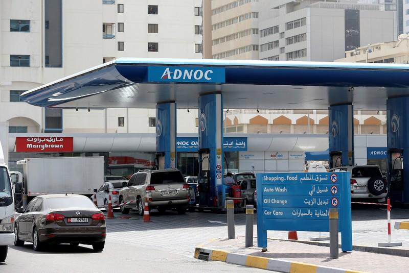 Cars are seen an ADNOC petrol station in Abu Dhabi, United Arab Emirates July 10, 2017. Stringer