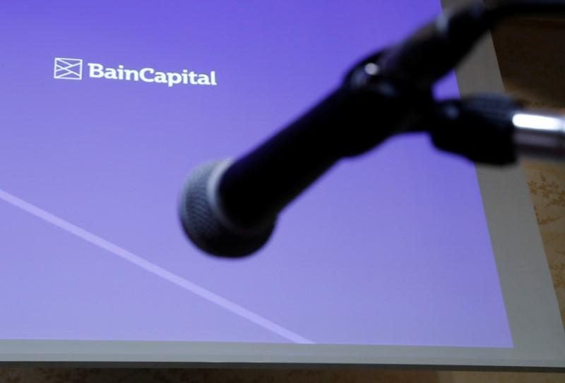Logo of the Bain Capital is screened at a news conference in Tokyo, Japan September 28, 2017. Kim Kyung-Hoon