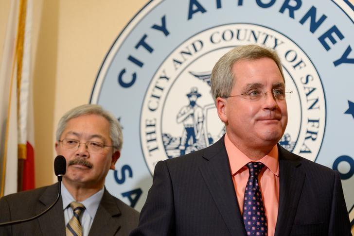 San Francisco City Attorney Dennis Herrera and Mayor Ed Lee announce they have filed a lawsuit against President Donald Trump for his unconstitutional executive order targeting sanctuary cities during a news conference at city hall in San Francisco, California, U.S., January 31, 2017. Kate Munsch