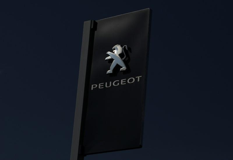 The logo of French car maker Peugeot is seen at a dealership in Nice, France, February 23, 2017.  Eric Gaillard -