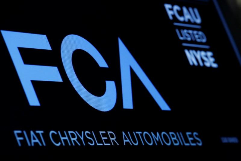 A screen displays the ticker information for Fiat Chrysler Automobiles NV at the post where it