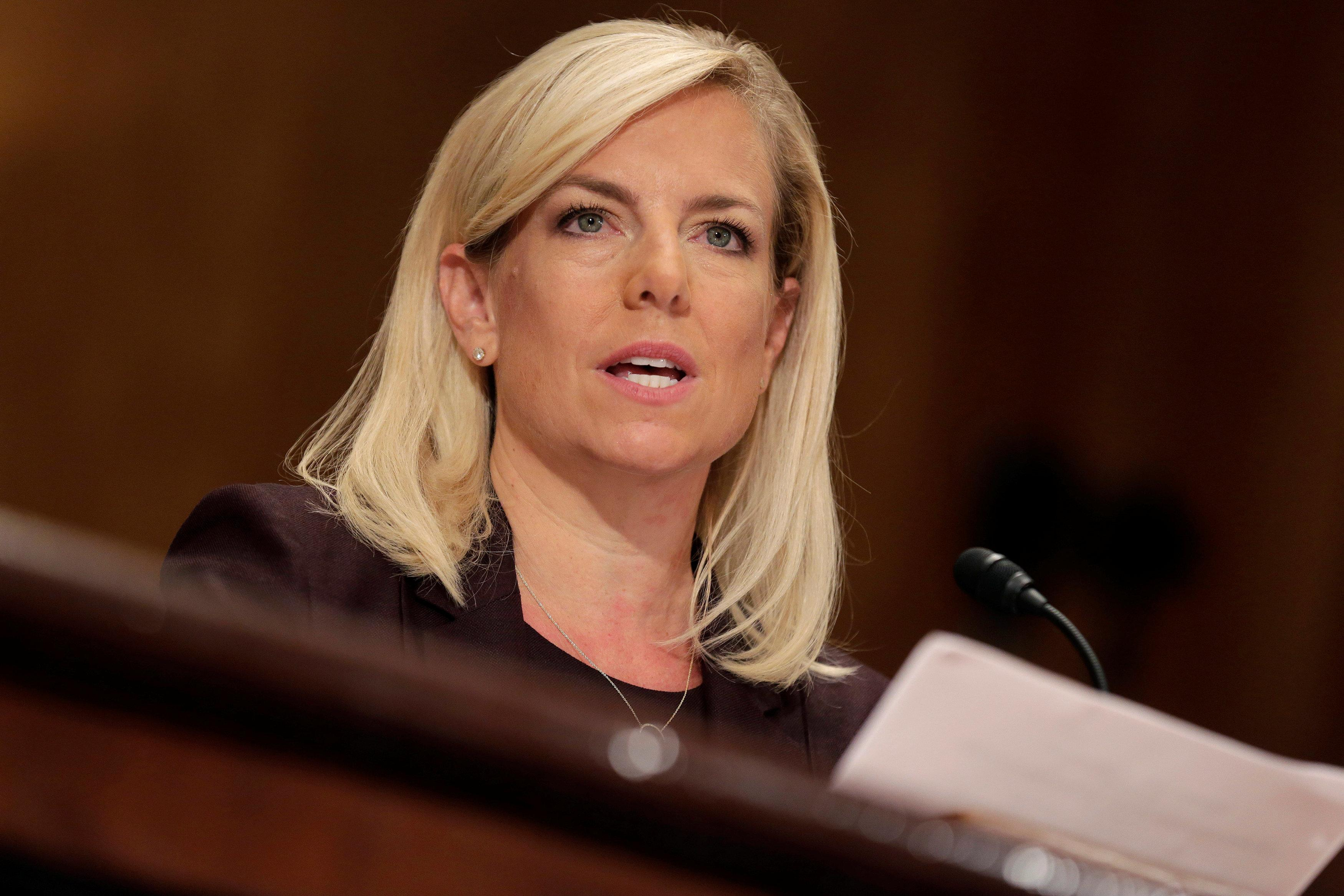 Kirstjen Nielsen testifies to the Senate Homeland Security and Governmental Affairs Committee on her nomination to be secretary of the Department of Homeland Security (DHS) in Washington, U.S., November 8, 2017.   Joshua Roberts