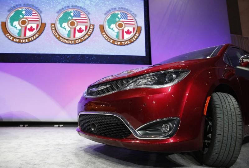 The Chrysler Pacifica is introduced as the 2017 Utility Vehicle of the Year during the North American International Auto Show in Detroit, Michigan, U.S., January 9, 2017. Brendan McDermid