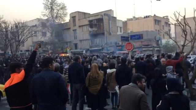 Protesters in Tehran, Iran December 30, 2017. The image was taken from a video obtained by .