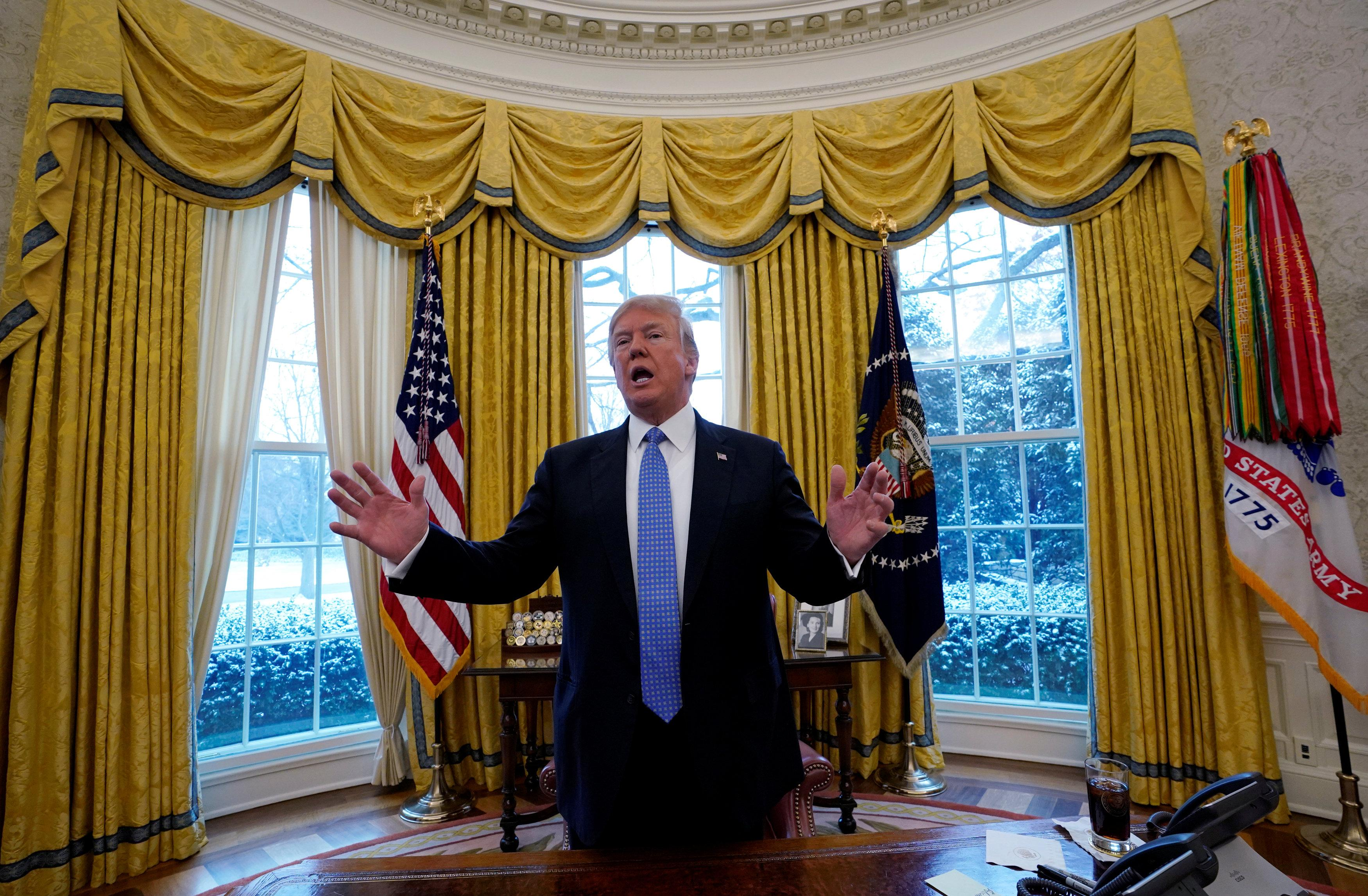 U.S. President Donald Trump speaks during an interview with Reuters at the White House in Washington, U.S., January 17, 2018. Kevin Lamarque