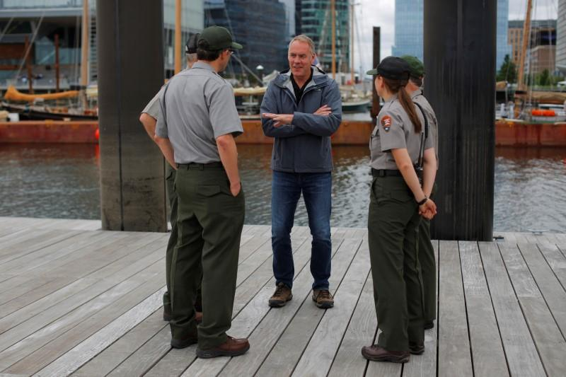 U.S. Interior Secretary Ryan Zinke (C) talks to National Park Service Rangers, while traveling for his National Monuments Review process, in Boston, Massachusetts, U.S., June 16, 2017. Brian Snyder
