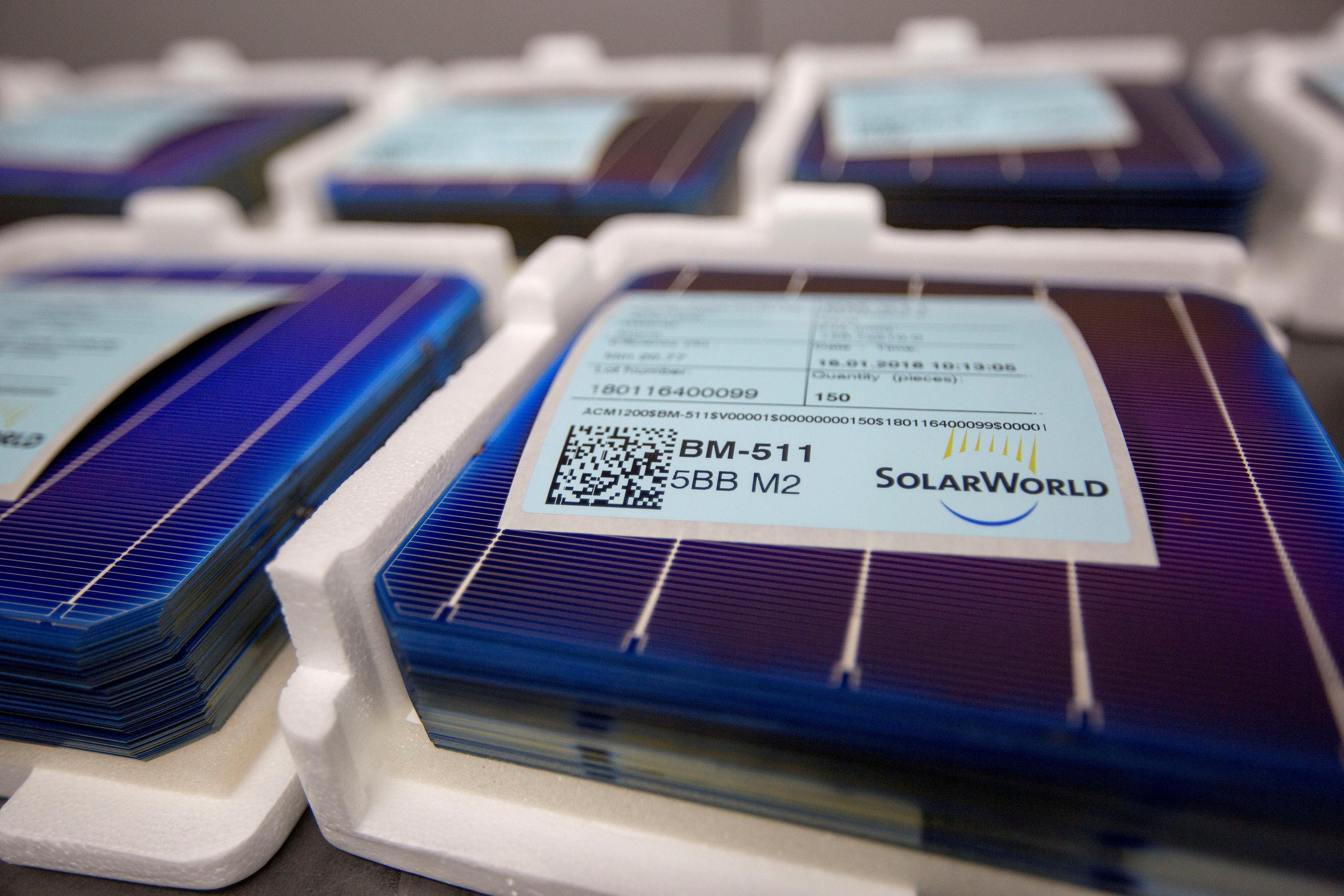 Solar panel cells are seen in the production process at the SolarWorld solar panel factory in Hillsboro, Oregon, U.S., January 15, 2018.  Natalie Behring