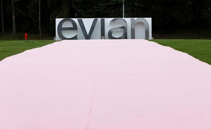 An Evian logo, part of Danone food company, is pictured outside the Evian water bottling plant in Publier near Evian-les-Bains, France, September 12, 2017. Denis Balibouse