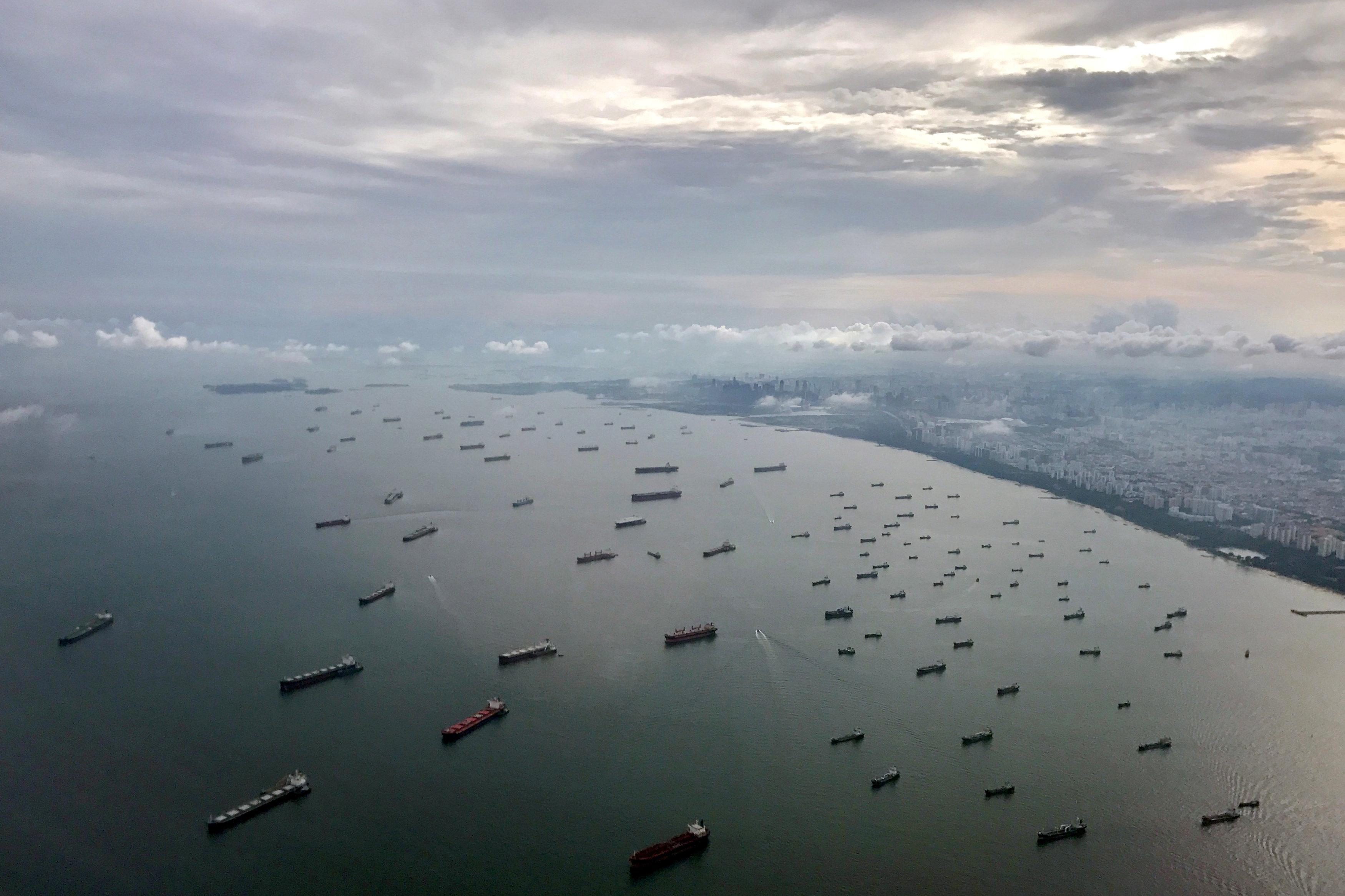 A bird's-eye view of ships along the coast in Singapore July 9, 2017. Jorge Silva